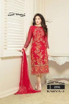 your choice karwa-3 fox georgette salwar kameez heavy embroidery