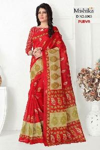 venisa purva bhaglpuri cotton silk saree with printed
