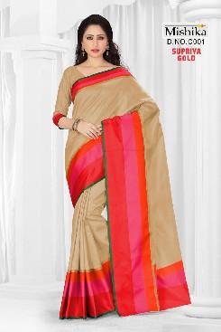 venisa supriya gold cotton satin border patta party wear sarees