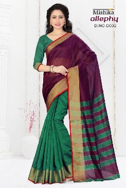 venisa allphy party wear cotton saree with jari border