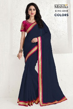 venisa colors cotton saree with heavy embroidery & jari border
