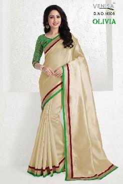 venisa olivia cotton silk  saree with satin border patta & jaquard work