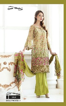your choice bollywood-3 glass cotton salwar kameez with heavy emboridery