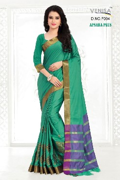venisa apsara plus heavy gas mercerized cotton saree with handloom cotton and heavy embroidery