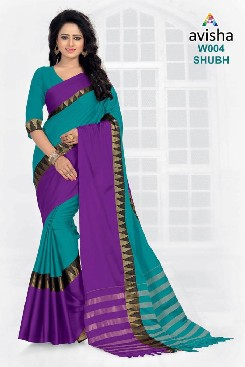 venisa shubh 100% gas mercerized cotton saree with handloom cotton and zari temple work.