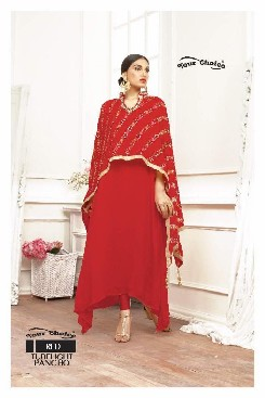 your choice tubelight pancho fox georgette bollywood suits with heavy emboridery