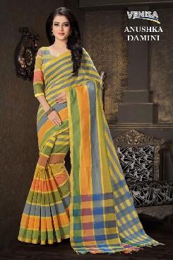 venisa anushka compact cotton saree with handloom cotton