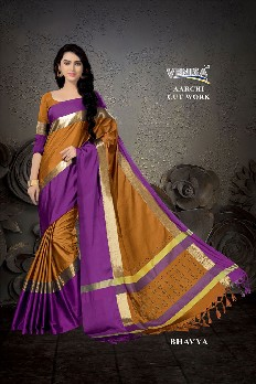 venisa aarchi cut work 100% gas mercerized cotton saree with handloom cotton and laser cut