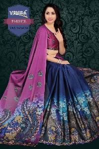 venisa pakhee 100% gas mercerized cotton saree with digital printed & handloom cotton