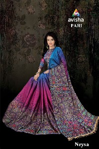 avisha pari party wear handloom cotton silk saree with digital print