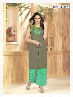rani trendz lime lite party wear cotton slub kurti with heavy embroidery