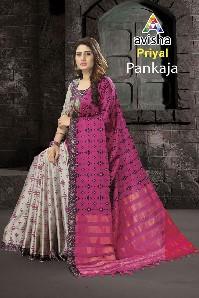 avisha priyal party wear soft silk saree with print and digital print border