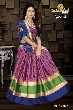 padmashree aakriti party wear soft silk saree with handloom cotton print