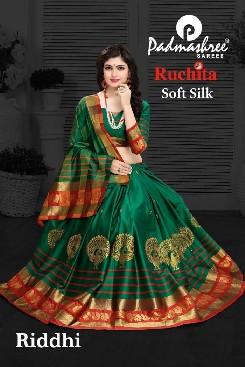 padmashree ruchita party wear soft silk saree with heavy embroidery