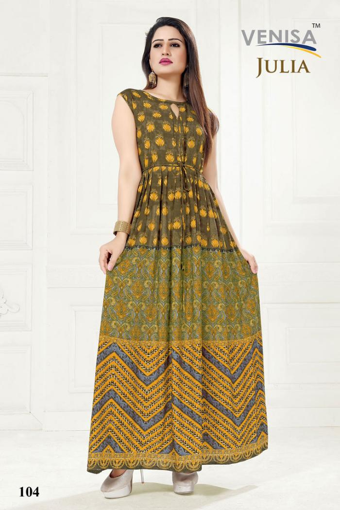 venisa julia party wear heavy rayon kurti with digital printed.