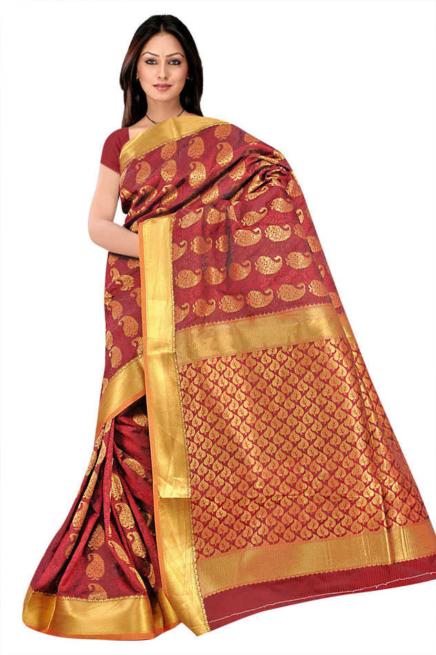 south kanchipuram nandani emboss butta sarees